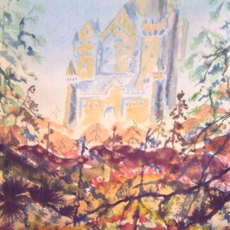 Castello nella nebbia - Acquerello